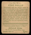 1933 Goudey Indian Gum #30  King Phillip   Back Thumbnail