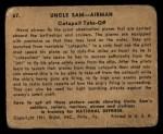 1941 Gum Inc. Uncle Sam Home Defense #67   Catapult Take-Off Back Thumbnail