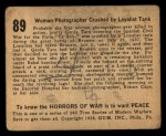 1938 Gum Inc. Horrors of War #89   Woman Photagrapher Crushed by Loyalist Tank Back Thumbnail