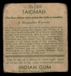 1933 Goudey Indian Gum #208  Taiomah   Back Thumbnail