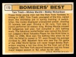 1963 Topps #173   -  Mickey Mantle / Bobby Richardson / Tom Tresh Bomber's Best Back Thumbnail