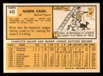 1963 Topps #445 TOU Norm Cash  Back Thumbnail
