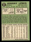 1967 Topps #91  Johnny Lewis  Back Thumbnail