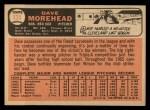 1966 Topps #135  Dave Morehead  Back Thumbnail