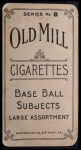 1910 T210-8 Old Mill Southern League  Chappelle  Back Thumbnail