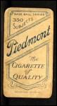 1909 T206  Charles Seitz  Back Thumbnail