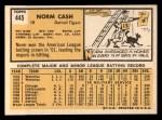 1963 Topps #445 xTCH Norm Cash  Back Thumbnail