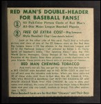 1952 Red Man #1 NL x Leo Durocher  Back Thumbnail