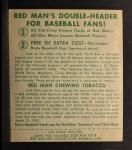 1952 Red Man #1 NL Leo Durocher  Back Thumbnail
