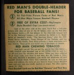 1952 Red Man #13 AL x George Kell  Back Thumbnail