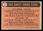 1966 Topps #524   -  Don Mason / Ollie Brown Giants Rookies Back Thumbnail
