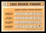 1963 Topps #29 TWO  -  Sammy Ellis / Ray Culp / John Boozer / Jesse Gonder 1962 Rookies Back Thumbnail