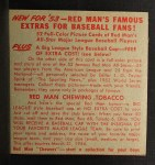 1953 Red Man #18 AL x Johnny Mize  Back Thumbnail