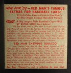 1953 Red Man #2 NLx Bobby Adams  Back Thumbnail