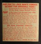 1953 Red Man #21 AL x Mickey Vernon  Back Thumbnail