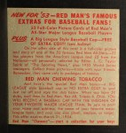 1953 Red Man #21 NL x Hoyt Wilhelm  Back Thumbnail