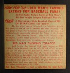 1953 Red Man #3 AL x Yogi Berra  Back Thumbnail