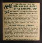 1954 Red Man #16 NLx Duke Snider  Back Thumbnail