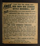 1954 Red Man #25 NL Willie Mays  Back Thumbnail
