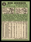 1967 Topps #38 *ERR* Bob Johnson  Back Thumbnail