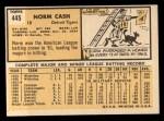 1963 Topps #445 ERR Norm Cash  Back Thumbnail