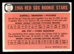 1966 Topps #456   -  Joe Foy / Darrell Brandon Red Sox Rookies Back Thumbnail