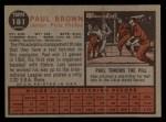 1962 Topps #181 GRN Paul Brown  Back Thumbnail
