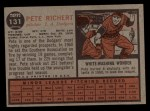 1962 Topps #131 GRN Pete Richert  Back Thumbnail