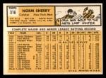 1963 Topps #316  Norm Sherry  Back Thumbnail