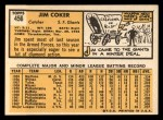 1963 Topps #456  Jim Coker  Back Thumbnail