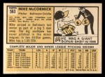 1963 Topps #563  Mike McCormick  Back Thumbnail
