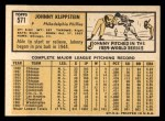 1963 Topps #571  Johnny Klippstein  Back Thumbnail