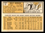 1963 Topps #57  Billy Moran  Back Thumbnail