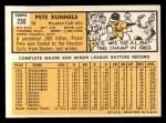 1963 Topps #230  Pete Runnels  Back Thumbnail