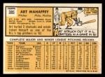 1963 Topps #385  Art Mahaffey  Back Thumbnail