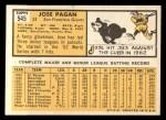 1963 Topps #545  Jose Pagan  Back Thumbnail