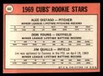 1969 Topps #602 ^COR^  -  Alec Distaso / Don Young / Jim Qualls Cubs Rookies Back Thumbnail