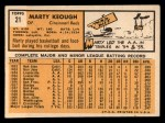1963 Topps #21 BLU Marty Keough  Back Thumbnail