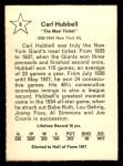 1961 Golden Press #6  Carl Hubbell     Back Thumbnail