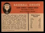 1961 Fleer #147  Johnny Vander Meer  Back Thumbnail