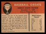 1961 Fleer #144  Pie Traynor  Back Thumbnail