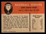 1961 Fleer #23  Johnny Evers  Back Thumbnail