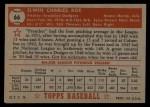 1952 Topps #66 RED Preacher Roe  Back Thumbnail