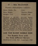 1948 Bowman #31  Bill McCahan  Back Thumbnail
