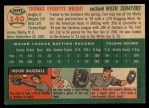 1954 Topps #140  Tom Wright  Back Thumbnail