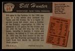 1955 Bowman #69  Bill Hunter  Back Thumbnail