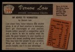 1955 Bowman #199  Vern Law  Back Thumbnail