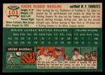 1954 Topps #101  Gene Woodling  Back Thumbnail