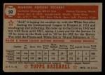 1952 Topps #50 RED Marv Rickert  Back Thumbnail