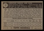 1952 Topps #53  Chris Van Cuyk  Back Thumbnail